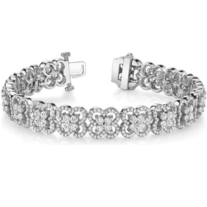 Flower Diamond Clover-Shaped Silver Bracelet YCB380
