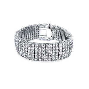 6 Rows AAA Silver Plated Tennis CZ Luxury Bracelet YCB517