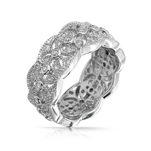 Vintage CZ Style Leaf Band and White Gold Plated Rings YCR6955
