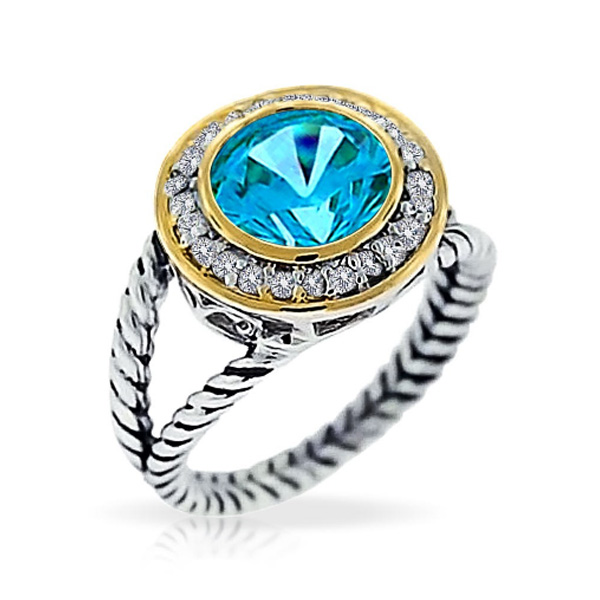 925 Silver Double Plated with Colorful CZ Fashion Rings YCR3247