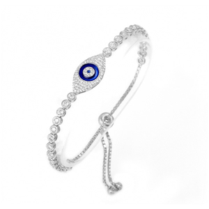 Adjustable 925 Sterling Silver Evil Eye Tennis Bracelet YCB516