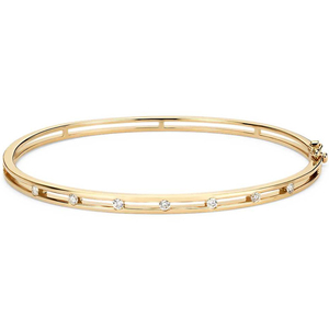 14K Gold Plated Station Bangle Bracelet YCB6643