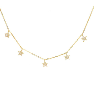 Pave CZ Sterling Silver Star Drop Charm Necklace Jewelry YCN6839